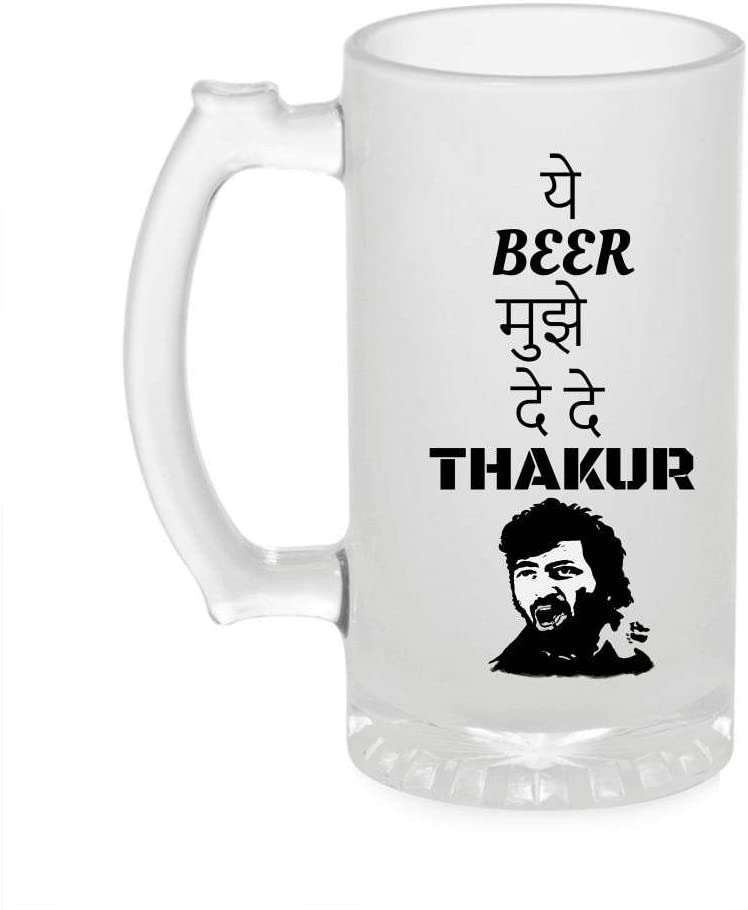 Crazy Sutra Funny and Cool Quote Ye Beer Mujhe De De Printed Clear Frosted Glass Beer Mug for Friends/Brother/Boyfriend (500ml)
