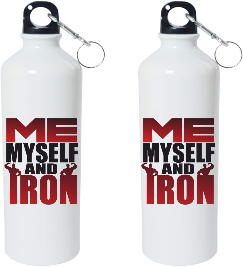 Crazy Sutra Classic Printed Gym Special Water Bottle/Sipper White - 600Ml (Sipper-MeMyselfAndIron1)