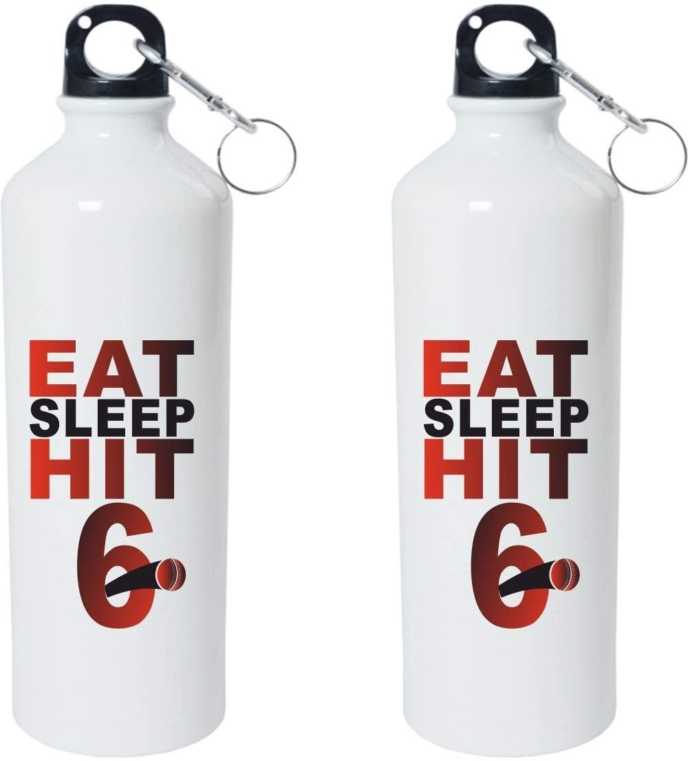 Crazy Sutra Classic Printed Cricket Special Water Bottle/Sipper White - 600Ml (Sipper-EatSleepHit6_W)