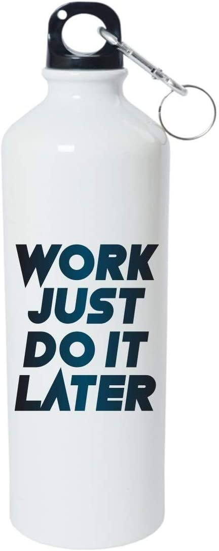 Crazy Sutra Classic Printed Water Bottle/Sipper White - 600Ml (Sipper-WorkJustDoItLater1)