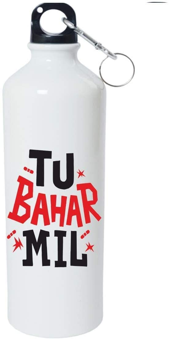Crazy Sutra Classic Printed Water Bottle/Sipper White - 600Ml (Sipper-TuBaharMil1)