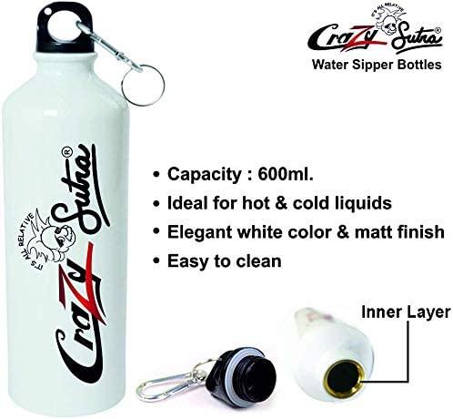 Crazy Sutra Classic Printed Water Bottle/Sipper White - 600Ml (Sipper-EkToMaiZiddi1)