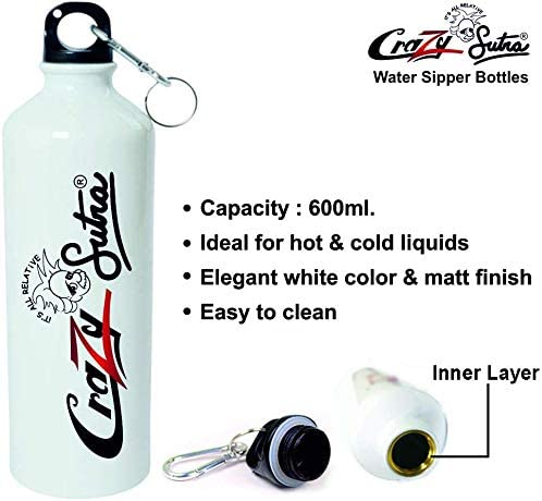 Crazy Sutra Classic Printed Cricket Special Water Bottle/Sipper White - 600Ml (Sipper-TheHitManRohitSharma_W)