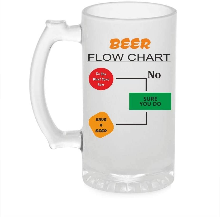 Crazy Sutra Funny and Cool Quote BeerFlowChart1 Printed Clear Frosted Glass Beer Mug for Friends/Brother/Boyfriend (500ml)