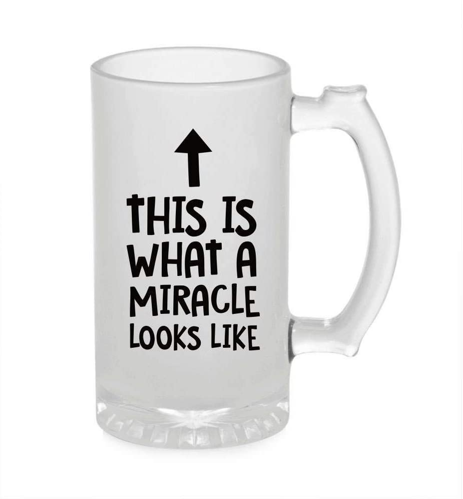 Crazy Sutra Funny and Cool Quote This is What A Miracle Printed Clear Frosted Glass Beer Mug for Friends/Brother/Boyfriend (500ml)