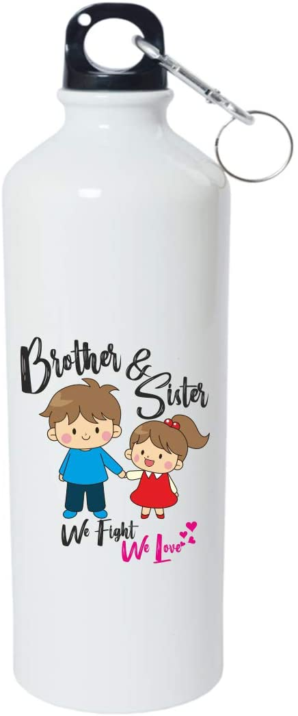 Crazy Sutra Classic Printed RAKSHA BANDHAN Special Water Bottle/Sipper White - 600Ml (Sipper-Bro&SisWeFightLove_1)