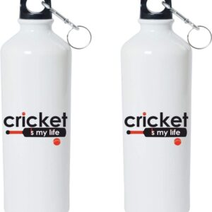 Crazy Sutra Classic Printed Cricket Special Water Bottle/Sipper White - 600Ml (Sipper-CricketIsMyLife_T)