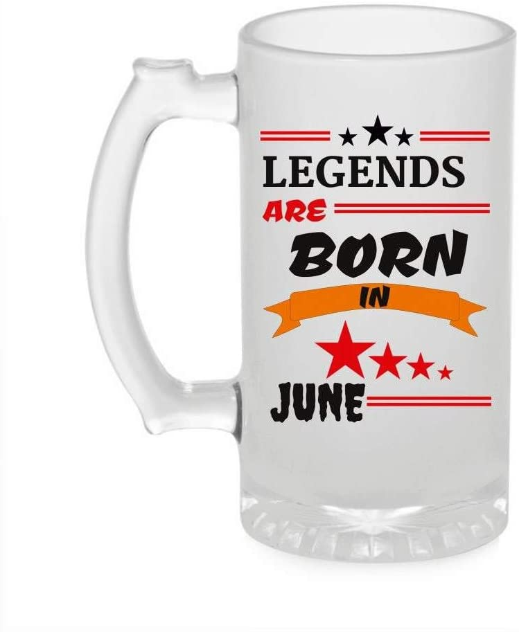 Crazy Sutra Funny and Cool Quote LegendAreBornInJune1 Printed Clear Frosted Glass Beer Mug for Friends/Brother/Boyfriend (500ml)