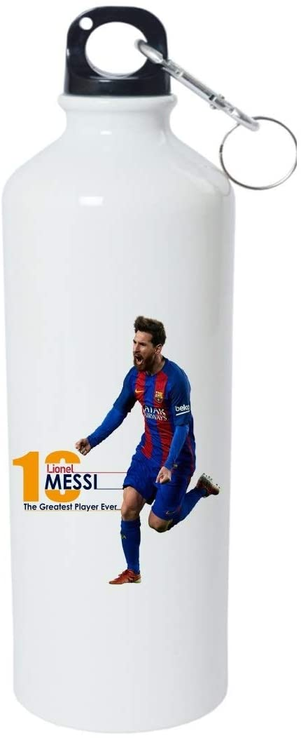 Crazy Sutra Classic Printed Special Football Water Bottle/Sipper White - 600Ml (Sipper-TheGreatestPlayerEver1)