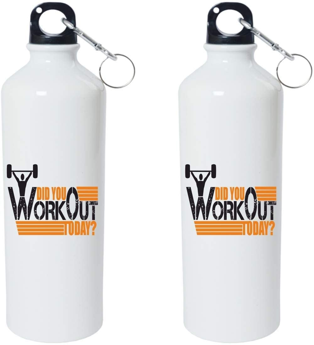 Crazy Sutra Classic Printed Gym Special Water Bottle/Sipper White - 600Ml (Sipper-DidUWorkOutToday1)