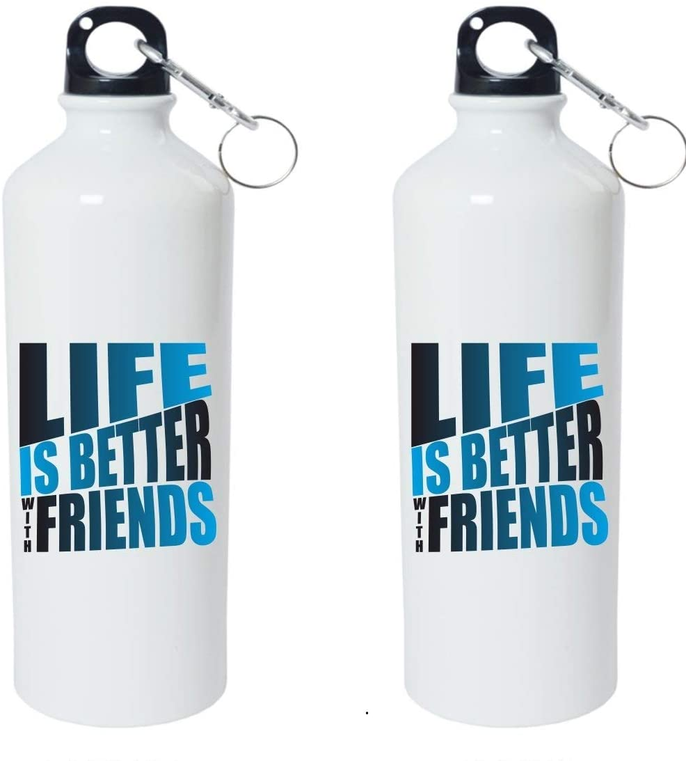 Crazy Sutra Classic Printed Water Bottle/Sipper - 600Ml (SchoolBottles-LifeIsBetterWFrnds_W)