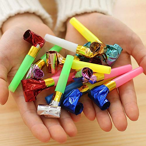 Crazy Sutra Foil Party Horns Noisemakers Blow Outs Whistles Toys for Birthday Party Favors (Multicolor, 25pc)