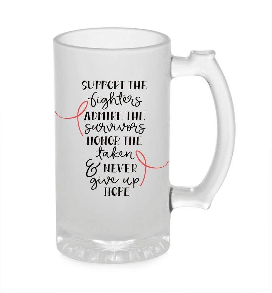 Crazy Sutra Funny and Cool Quote Support The Fighter Printed Clear Frosted Glass Beer Mug for Friends/Brother/Boyfriend (500ml)