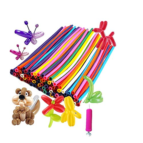 Crazy Sutra Animals Kit Twisting Balloons 100pcs Latex Long Modelling Balloons with 1 Balloon Pump (multicolor)