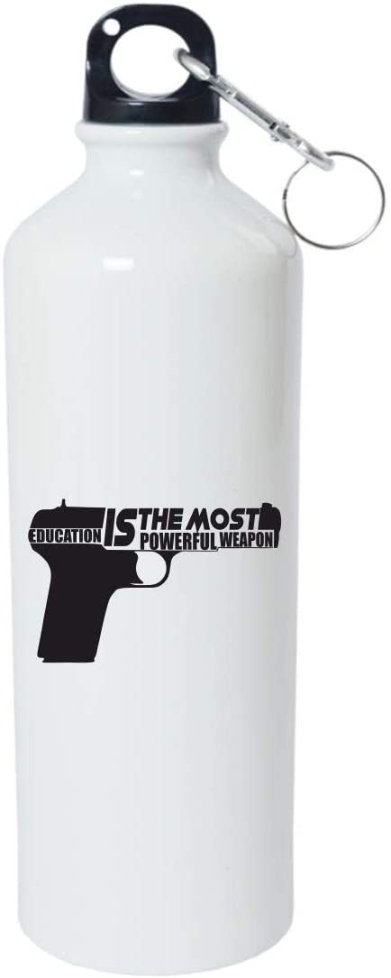 Crazy Sutra Classic Printed Water Bottle/Sipper White - 600Ml (Sipper-EduIsTMstPwrfWeap1)