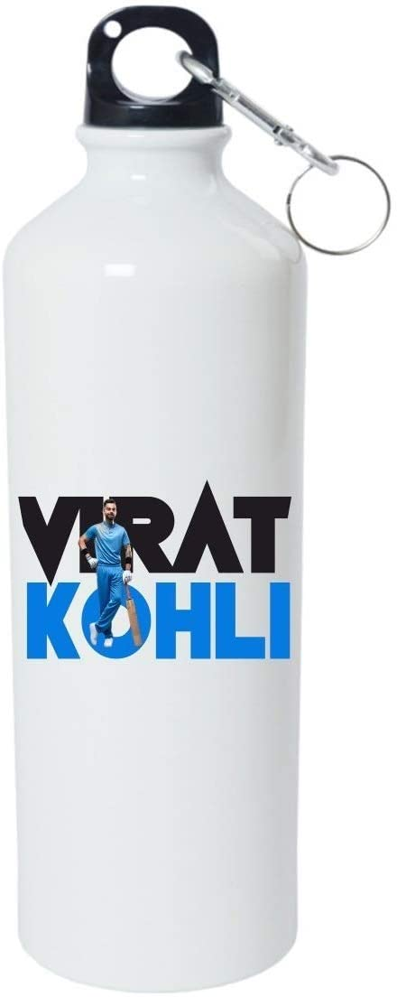 Crazy Sutra Classic Printed Cricket Special Water Bottle/Sipper White - 600Ml (Sipper-ViratKohli_W)