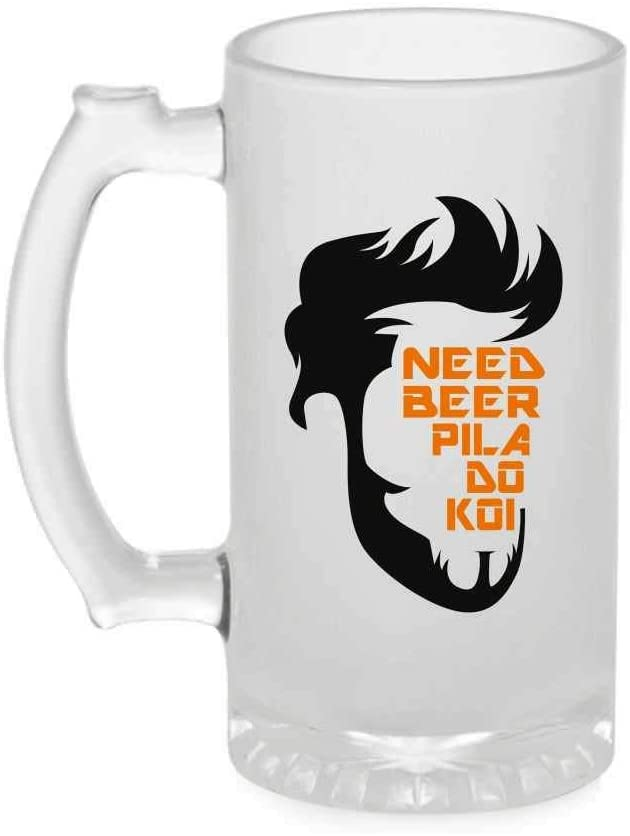 Crazy Sutra Funny and Cool Quote NeedBeer1 Printed Clear Frosted Glass Beer Mug for Friends/Brother/Boyfriend (500ml)