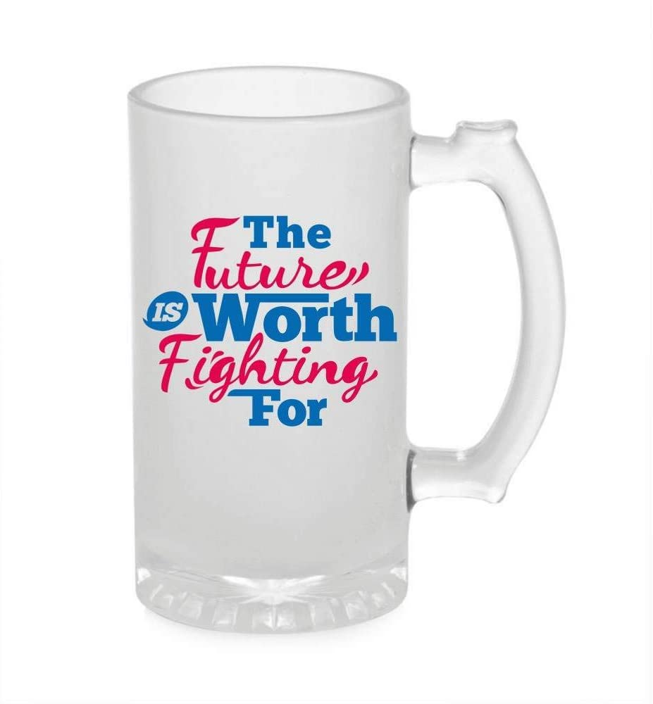 Crazy Sutra Funny and Cool Quote Future is The Worth Printed Clear Frosted Glass Beer Mug for Friends/Brother/Boyfriend (500ml)