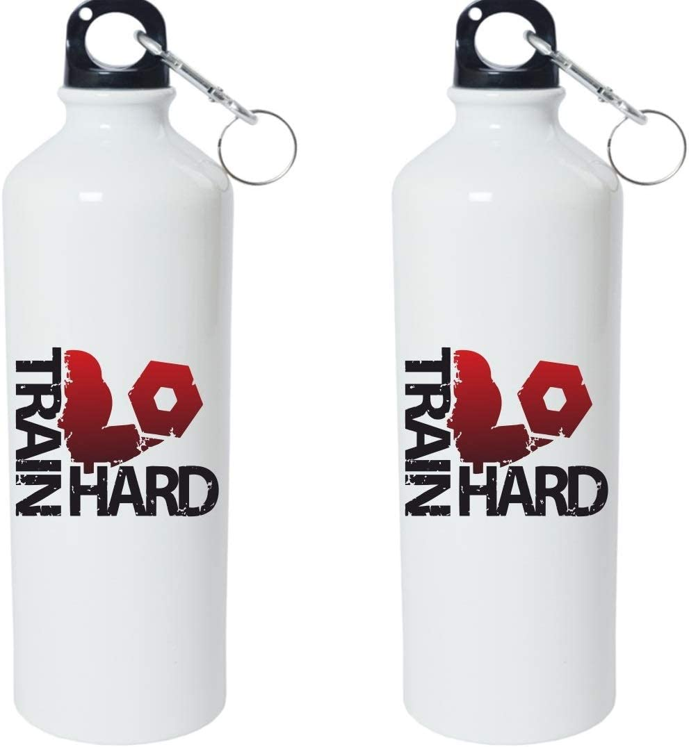 Crazy Sutra Classic Printed Quote Water Bottle/Sipper - 600Ml (TrainHard_W)