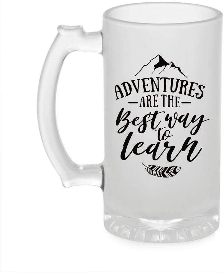Crazy Sutra Funny and Cool Quot Adventure are Th Best Away Learn Printed Clear Frosted Glass Beer Mug for Friends/Brother/Boyfriend (500ml)