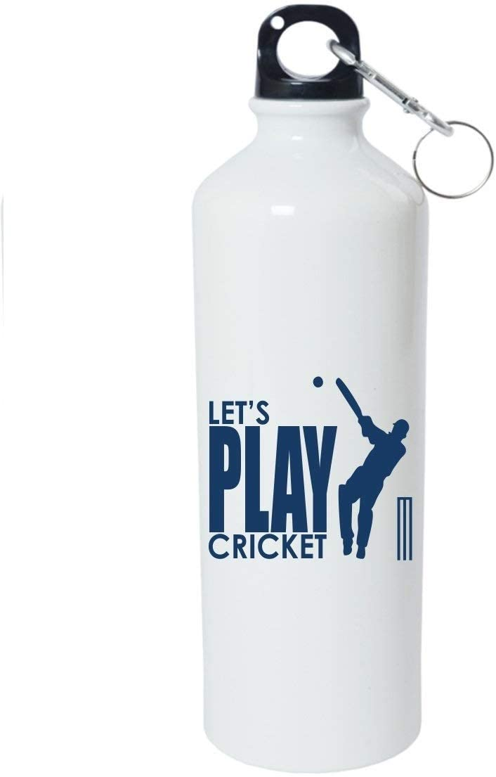 Crazy Sutra Classic Printed Cricket Special Water Bottle/Sipper White - 600Ml (Sipper-Let'sPlayCricket_W)