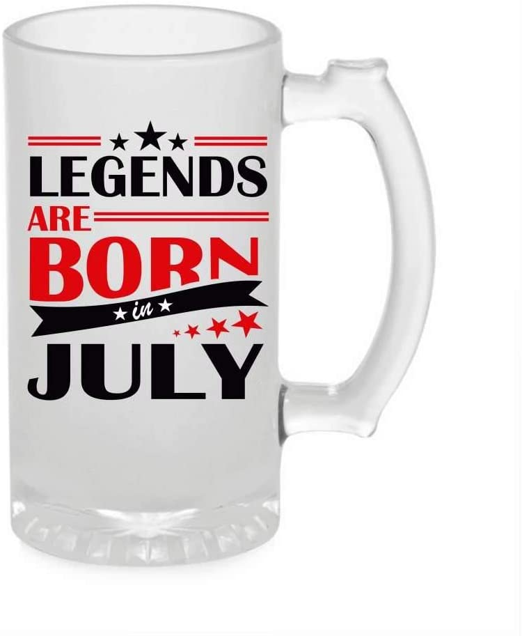 Crazy Sutra Funny and Cool Quote LegendAreBornInJuly1 Printed Clear Frosted Glass Beer Mug for Friends/Brother/Boyfriend (500ml)