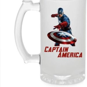Crazy Sutra Funny and Cool Quote Captian America Printed Clear Frosted Glass Beer Mug for Friends/Brother/Boyfriend (500ml)