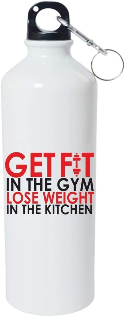 Crazy Sutra Classic Printed Gym Special Water Bottle/Sipper White - 600Ml (Sipper-GetFitInTheGymLWIK1)