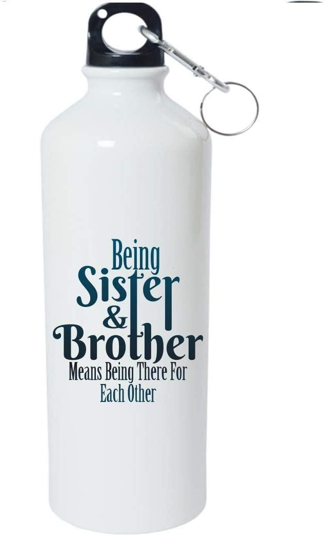 Crazy Sutra Classic Printed RAKSHA BANDHAN Special Water Bottle/Sipper White - 600Ml (Sipper-BeingSis&Bro4EachOth_1)