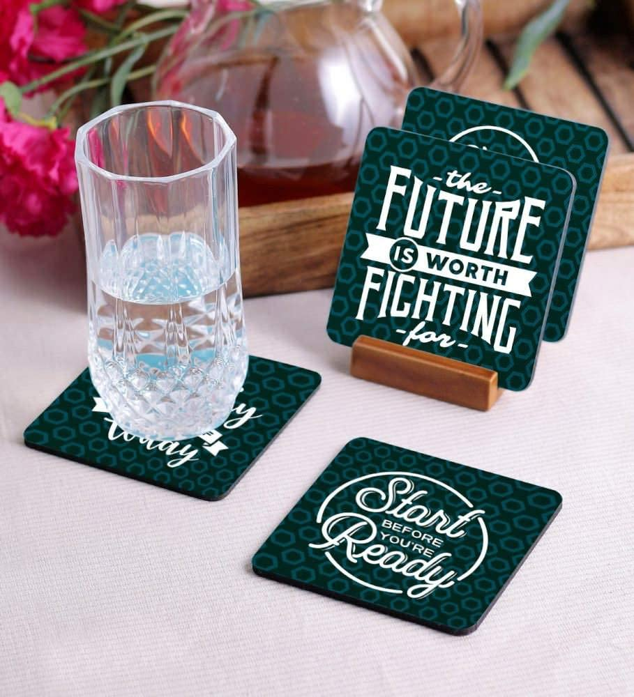 Crazy Sutra Premium HD Printed Standard Size Coasters for Tea Coffee Cups, Mugs, Beer Mugs, Cans Bar Glass, Home, Kitchen, Office, Desk Set of 4 Coasters (Cos-StartBeforeYou2)