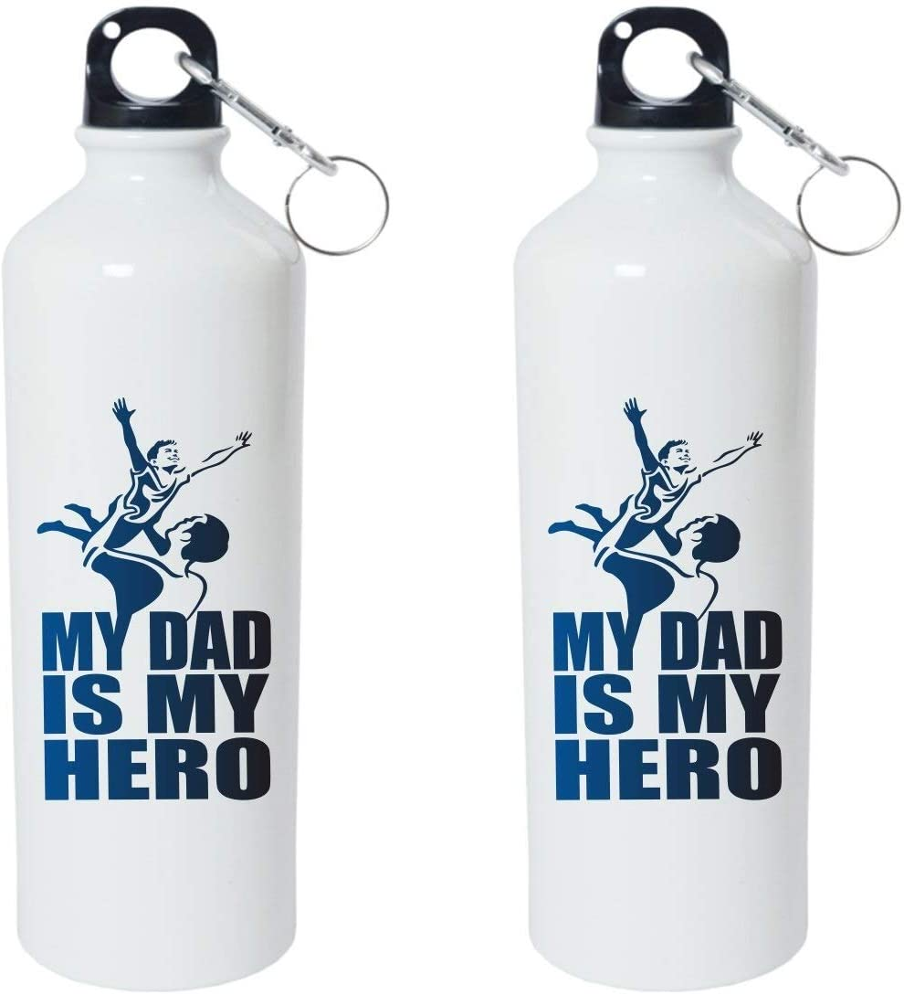 Crazy Sutra Classic Printed Quote Water Bottle/Sipper - 600Ml (MyDadIsMyHero_W)