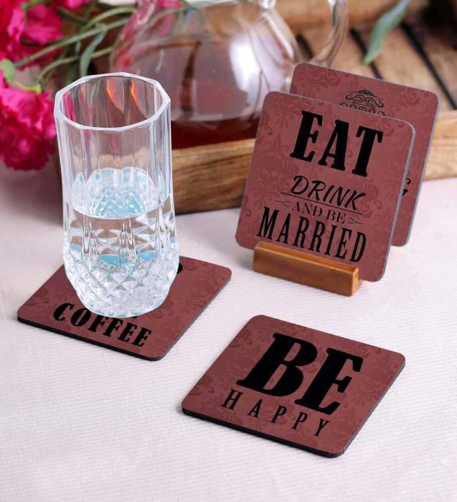 Crazy Sutra Premium HD Printed Standard Size Coasters for Tea Coffee, Cups, Mugs Beer, Cans Bar Glass, Home Kitchen, Office Desk Set of-4 (Cos-BeHappy)