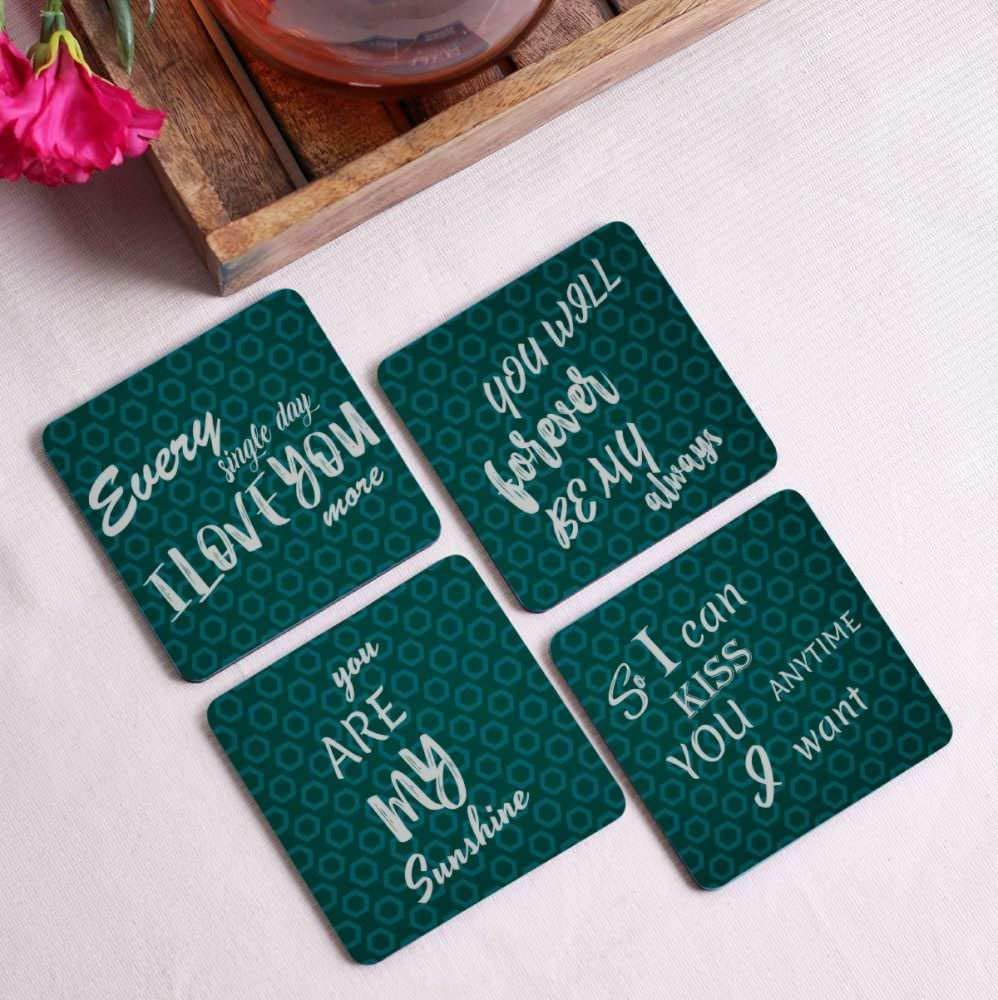 Crazy Sutra Premium HD Printed Standard Size Coasters for Tea Coffee Cups, Mugs, Beer Mugs, Cans Bar Glass, Home, Kitchen, Office, Desk Set of 4 Coasters (Cos-EverySingleDay4)