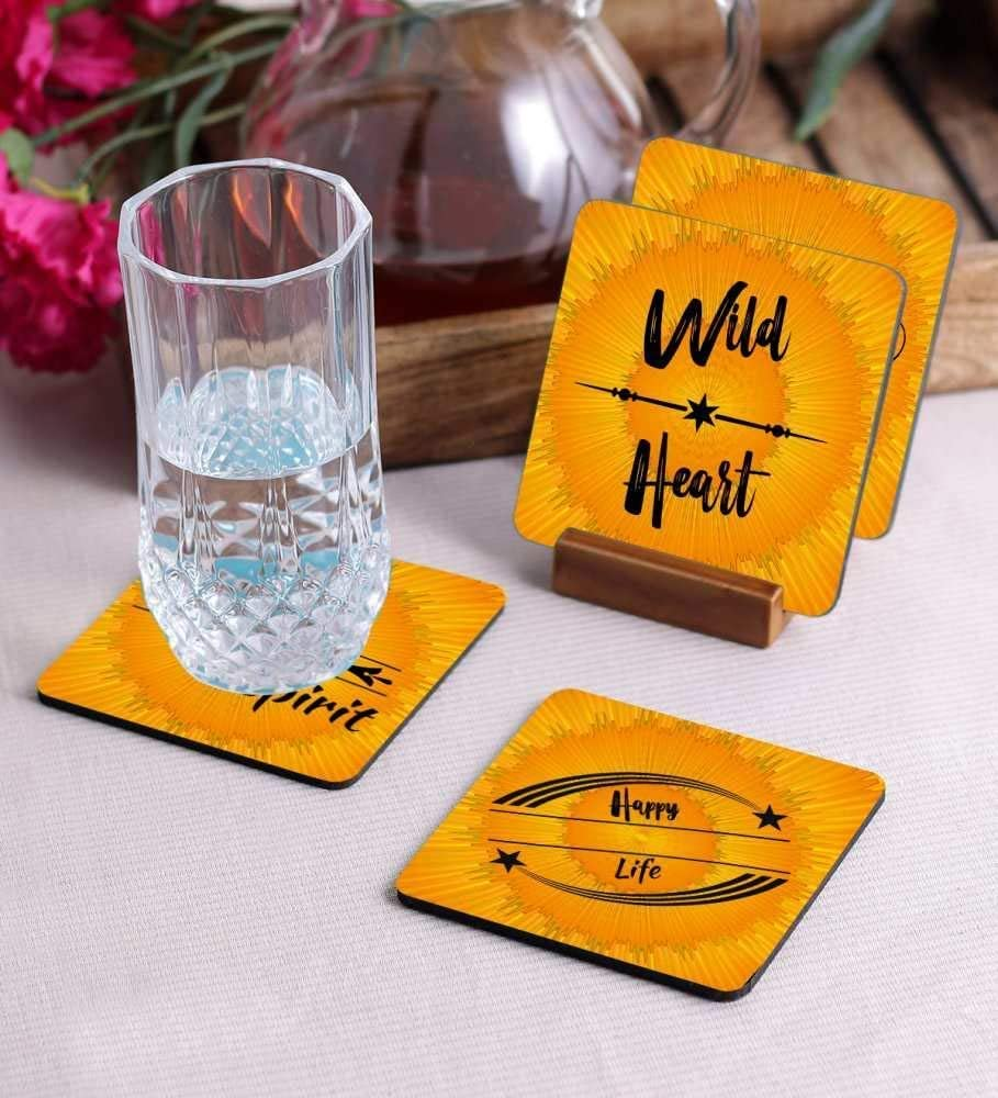Crazy Sutra Premium HD Printed Standard Size Coasters for Tea Coffee, Cups, Mugs Beer, Cans Bar Glass, Home Kitchen, Office Desk Set of-4 (Cos-HappyLife1)