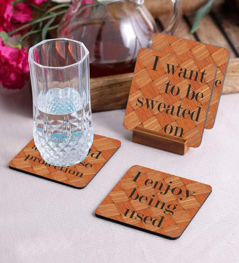 Crazy Sutra Premium HD Printed Standard Size Coasters for Tea Coffee Cups, Mugs, Beer Mugs, Cans Bar Glass, Home, Kitchen, Office, Desk Set of 4 Coasters (Cos-IEnjoyBeing3)