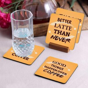 Crazy Sutra Premium HD Printed Standard Size Coasters for Tea Coffee Cups, Mugs, Beer Mugs, Cans Bar Glass, Home, Kitchen, Office, Desk Set of 4 Coasters (Cos-GoodThingsHappen2)