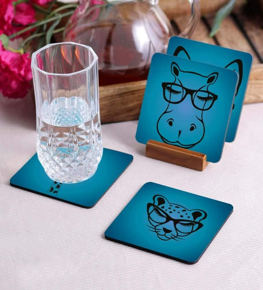 Crazy Sutra Premium HD Printed Standard Size Coasters for Tea Coffee Cups, Mugs, Beer Mugs, Cans Bar Glass, Home, Kitchen, Office, Desk Set of 4 Coasters (Cos-Animal)