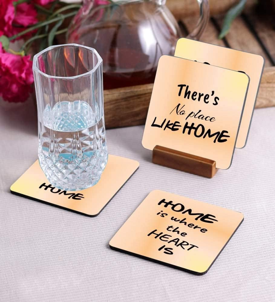 Crazy Sutra Premium HD Printed Standard Size Coasters for Tea Coffee, Cups, Mugs Beer, Cans Bar Glass, Home Kitchen, Office Desk Set of-4 (Cos-HomeIsWhere3)