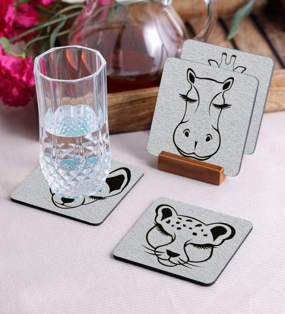Crazy Sutra Premium HD Printed Standard Size Coasters for Tea Coffee Cups, Mugs, Beer Mugs, Cans Bar Glass, Home, Kitchen, Office, Desk Set of 4 Coasters (Cos-Animal2-1)