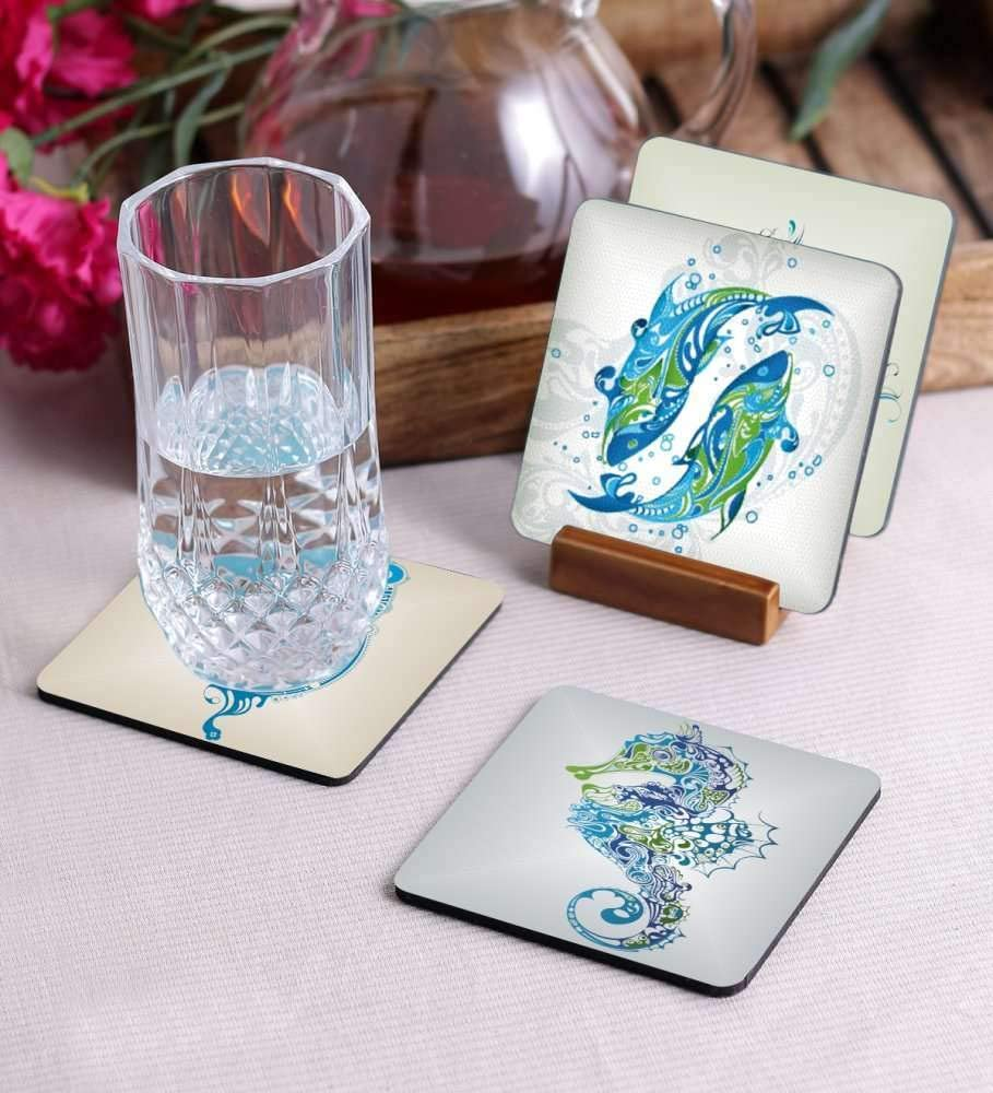 Crazy Sutra Premium HD Printed Standard Size Coasters for Tea Coffee Cups, Mugs, Beer Mugs, Cans Bar Glass, Home, Kitchen, Office, Desk Set of 4 Coasters (Cos-Fishs1)