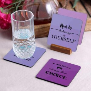 Crazy Sutra Premium HD Printed Standard Size Coasters for Tea Coffee Cups, Mugs, Beer Mugs, Cans Bar Glass, Home, Kitchen, Office, Desk Set of 4 Coasters (Cos-YouAlwaysHaveChoice)