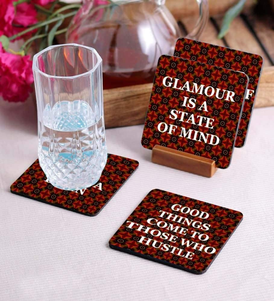 Crazy Sutra Premium HD Printed Standard Size Coasters for Tea Coffee Cups, Mugs, Beer Mugs, Cans Bar Glass, Home, Kitchen, Office, Desk Set of 4 Coasters (Cos-GoodThings3)