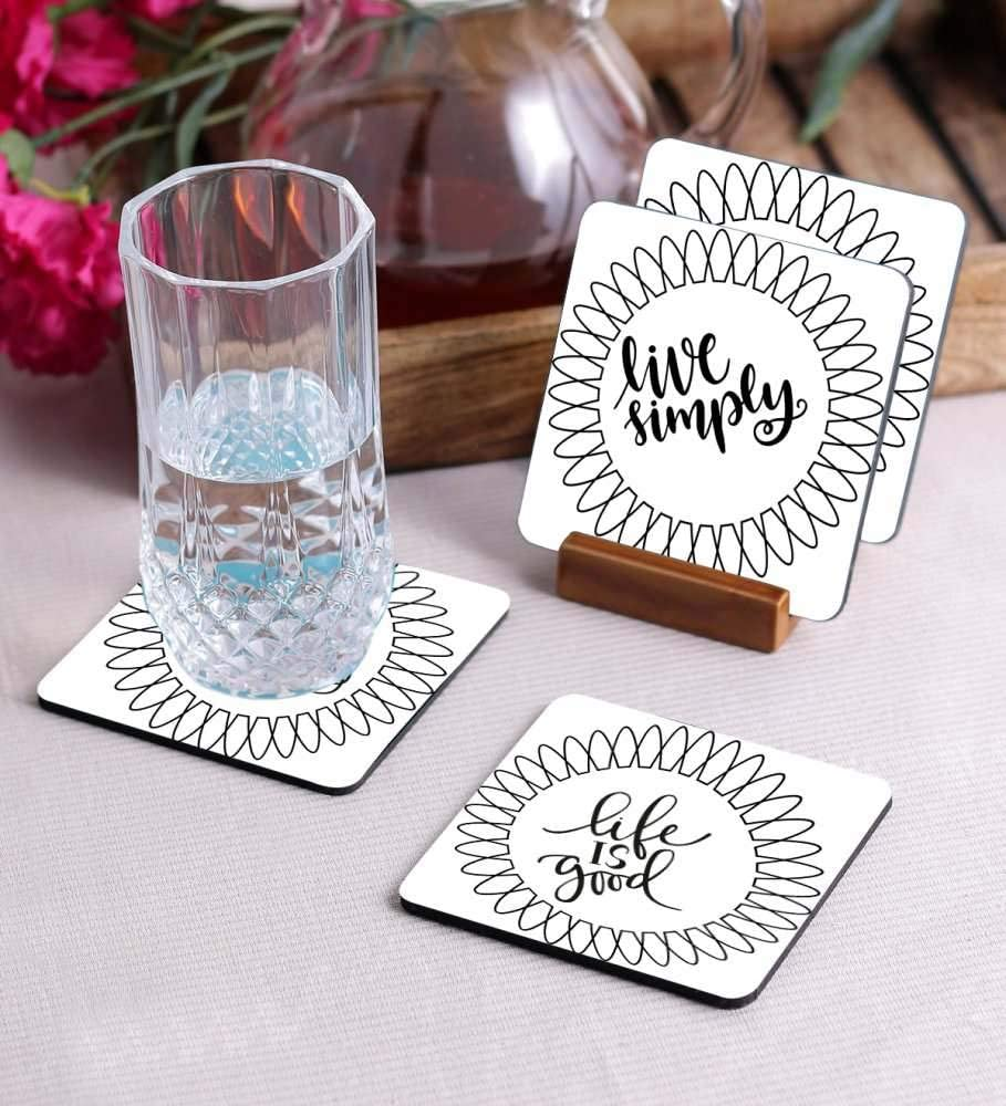 Crazy Sutra Premium HD Printed Standard Size Coasters for Tea Coffee Cups, Mugs, Beer Mugs, Cans Bar Glass, Home, Kitchen, Office, Desk Set of 4 Coasters (Cos-Circle)