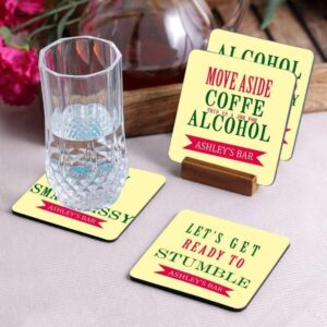 Crazy Sutra Premium HD Printed Standard Size Coasters for Tea Coffee, Cups, Mugs Beer, Cans Bar Glass, Home Kitchen, Office Desk Set of-4 (Cos-LetsGet4)