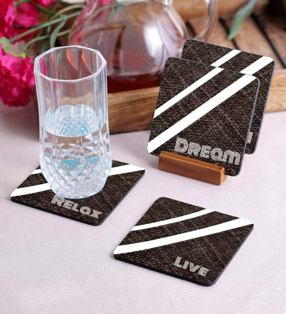 Crazy Sutra Premium HD Printed Standard Size Coasters for Tea Coffee Cups, Mugs, Beer Mugs, Cans Bar Glass, Home, Kitchen, Office, Desk Set of 4 Coasters (Cos-LiveRelex2)