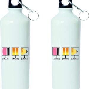 Crazy Sutra Classic Printed Water Bottle/Sipper White - 600Ml (Sipper-EraseImgineCrte3)