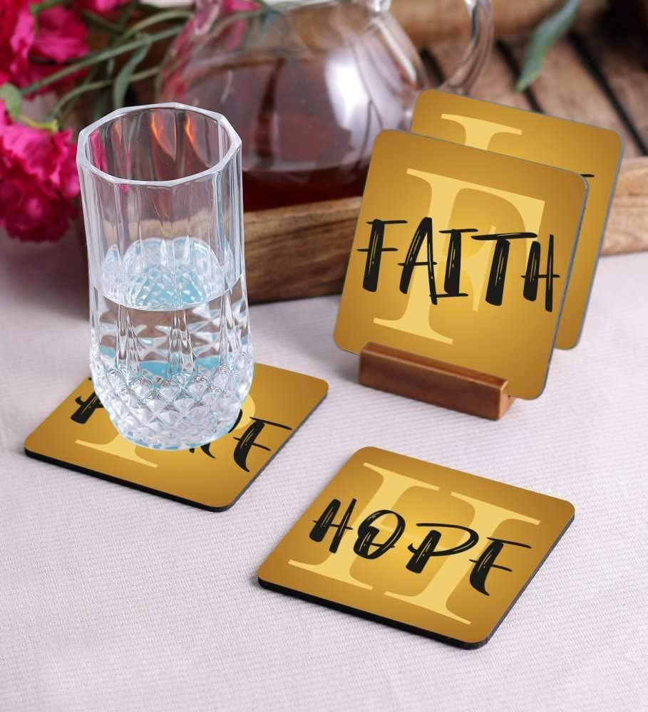 Crazy Sutra Premium HD Printed Standard Size Coasters for Tea Coffee Cups, Mugs, Beer Mugs, Cans Bar Glass, Home, Kitchen, Office, Desk Set of 4 Coasters (Cos-Hope1)