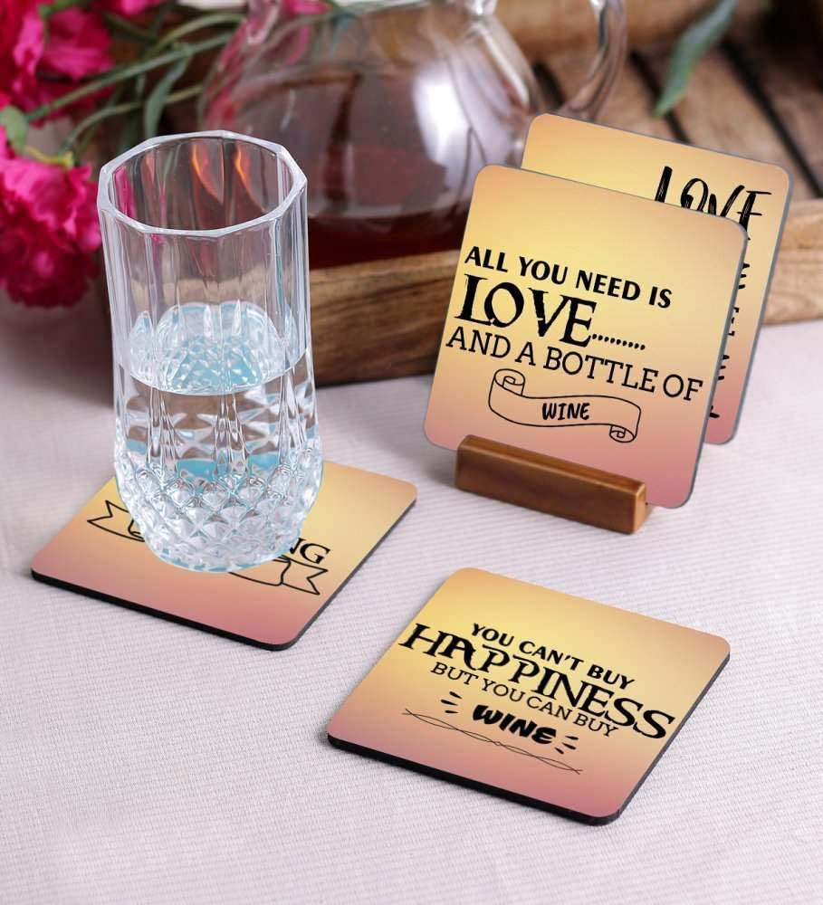 Crazy Sutra Premium HD Printed Standard Size Coasters for Tea Coffee Cups, Mugs, Beer Mugs, Cans Bar Glass, Home, Kitchen, Office, Desk Set of 4 Coasters (Cos-YouCan'tBuy)