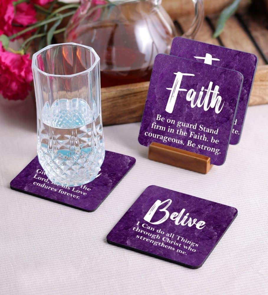 Crazy Sutra Premium HD Printed Standard Size Coasters for Tea Coffee, Cups, Mugs Beer, Cans Bar Glass, Home Kitchen, Office Desk Set of-4 (Cos-BeliveLove3)