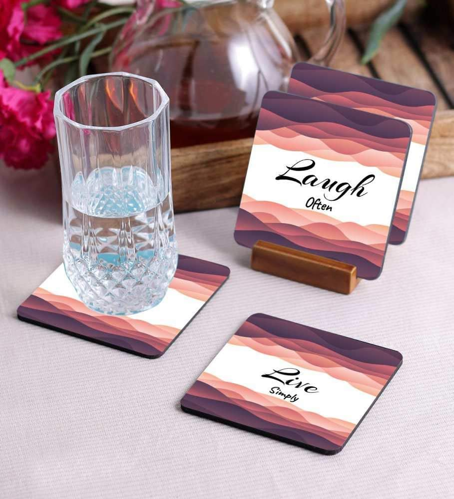 Crazy Sutra Premium HD Printed Standard Size Coasters for Tea Coffee, Cups, Mugs Beer, Cans Bar Glass, Home Kitchen, Office Desk Set of-4 (Cos-LoveMuch4)